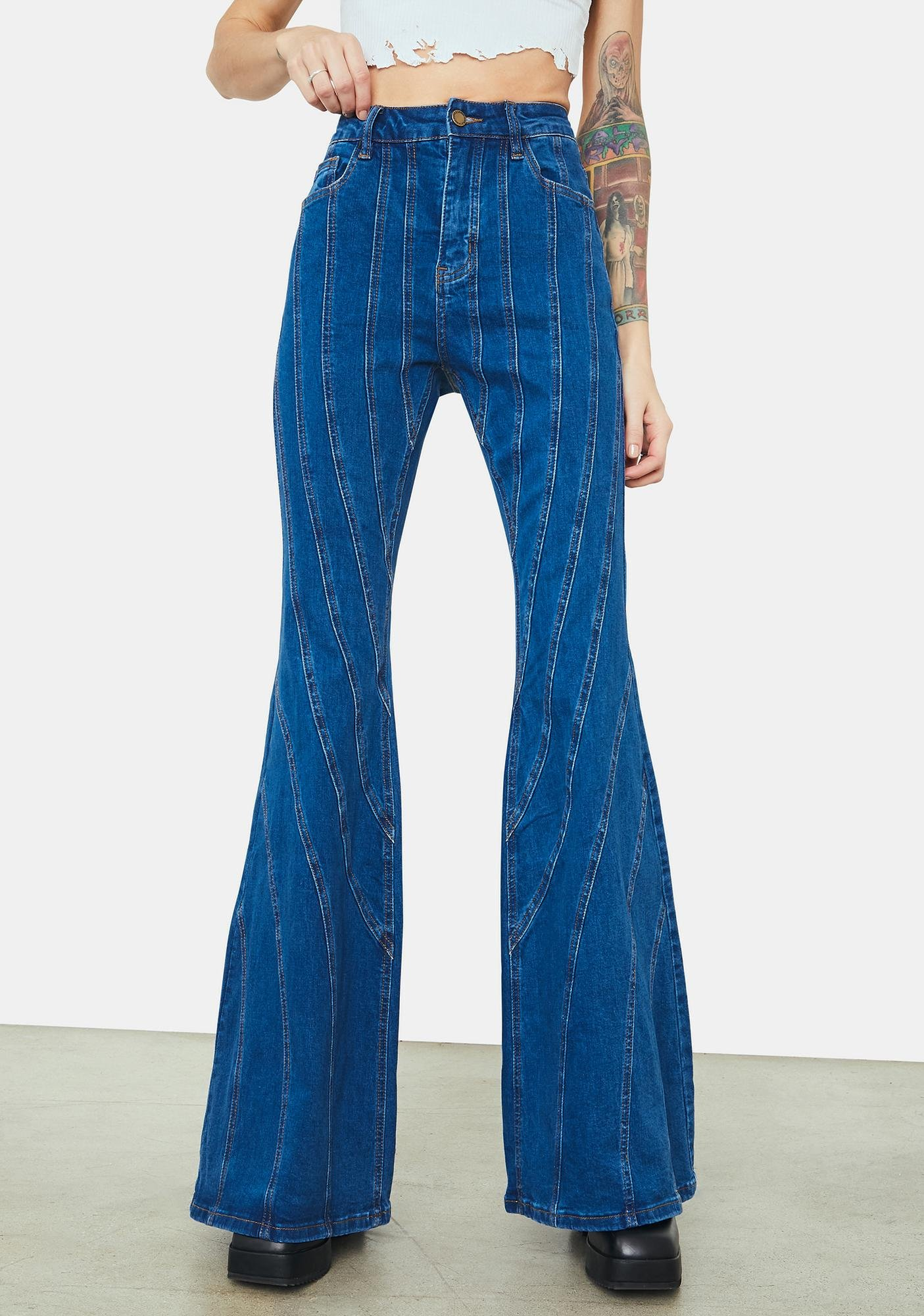 Player Plan Vertical Striped Flared Denim Jeans