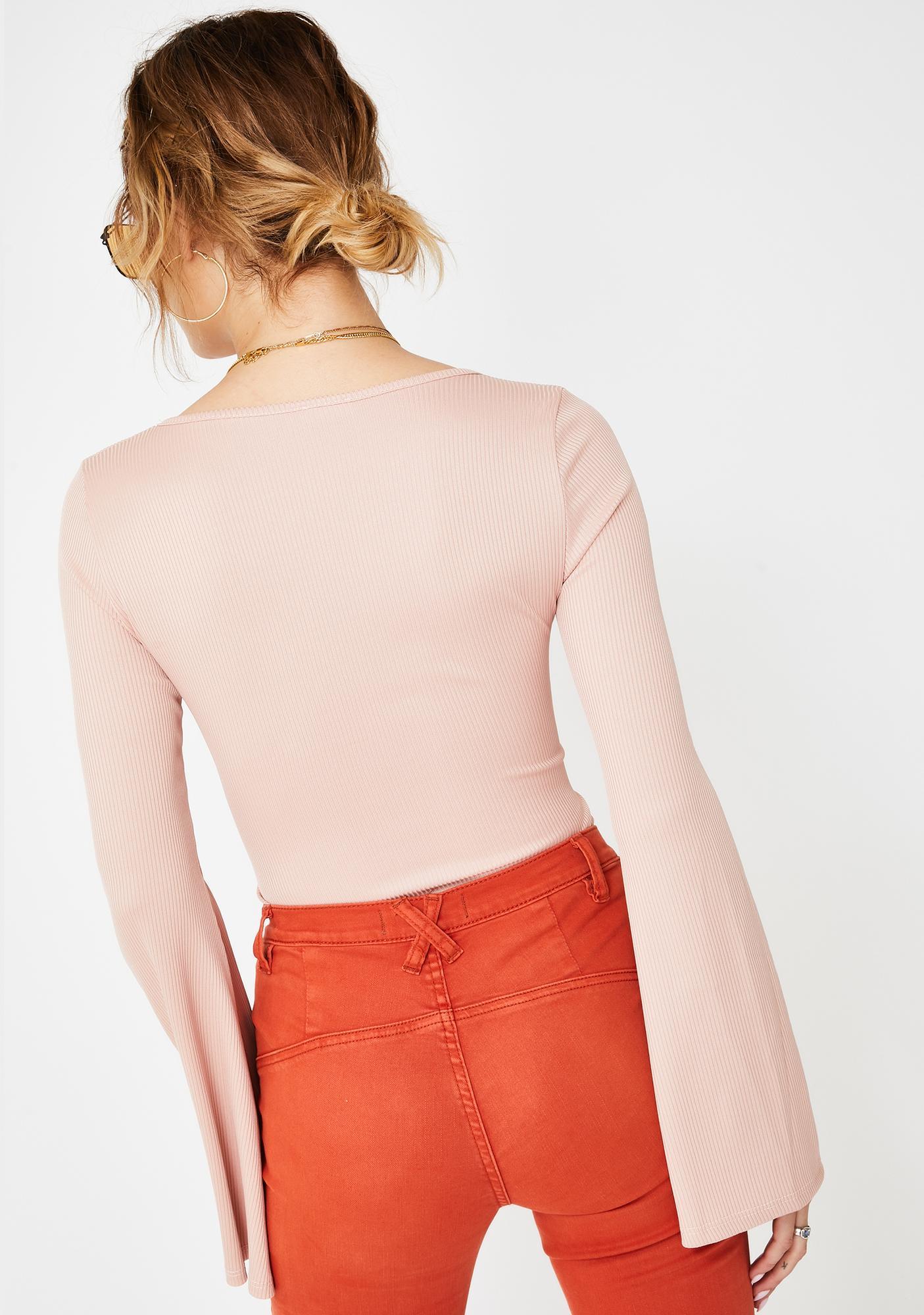 Free People Rose Charli Bell Sleeve Bodysuit