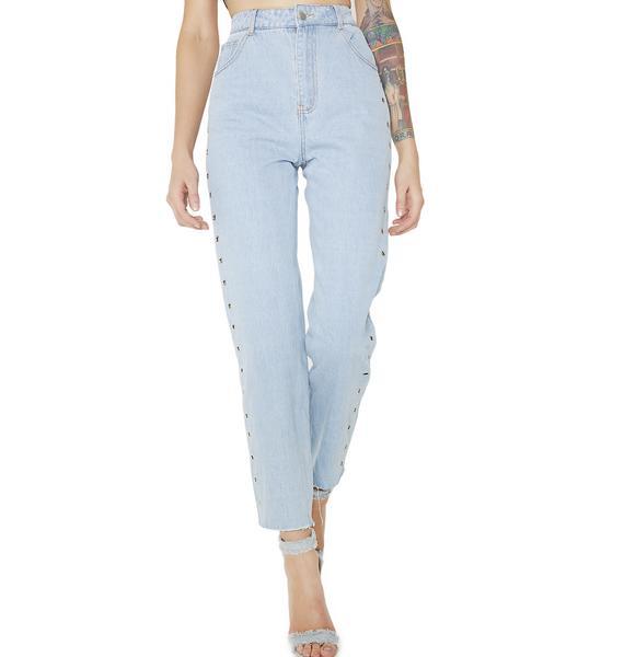 No Problem Grommet Jeans