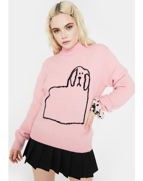 Doggy Outline Turtleneck Jumper