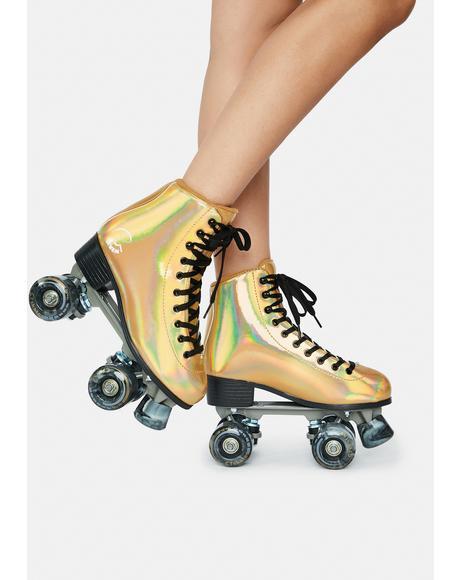 Holographic Gold Farrah Quad Skates