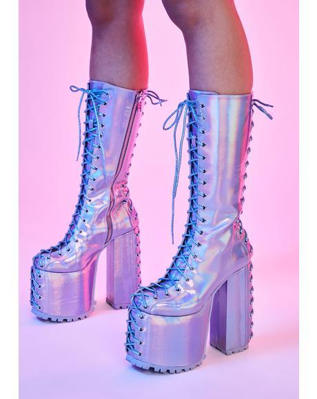 Time Warp Holographic Platform Boots