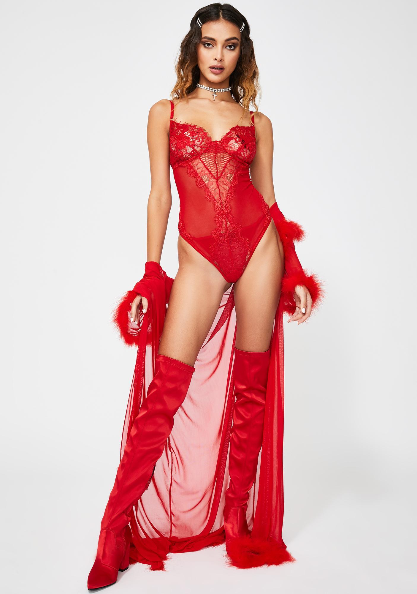 Scarlet Mistress Lace Teddy