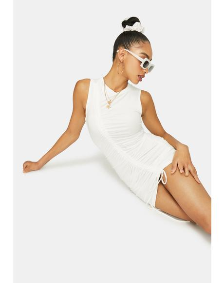 Ivory Ride This Feeling Ruched Tank Dress