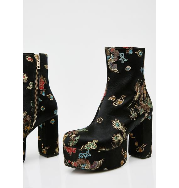 Current Mood Spittin' Fiyah Brocade Boots