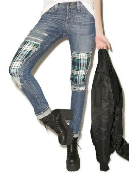 Plaid Boyfriend Jeans