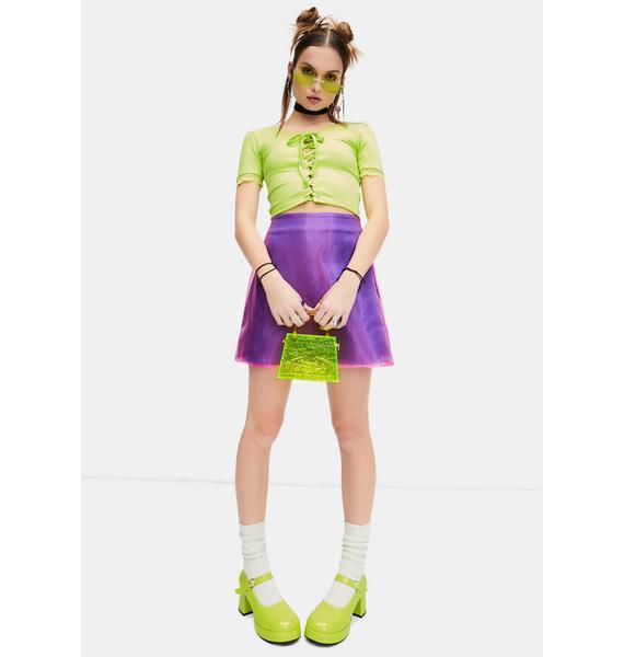 dELiA*s by Dolls Kill Mega Cutie Organza Overlay Mini Skirt