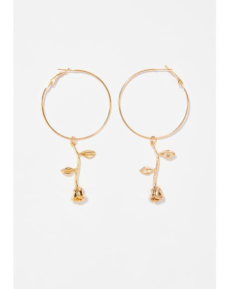 Enchanted Rose Hoop Earrings