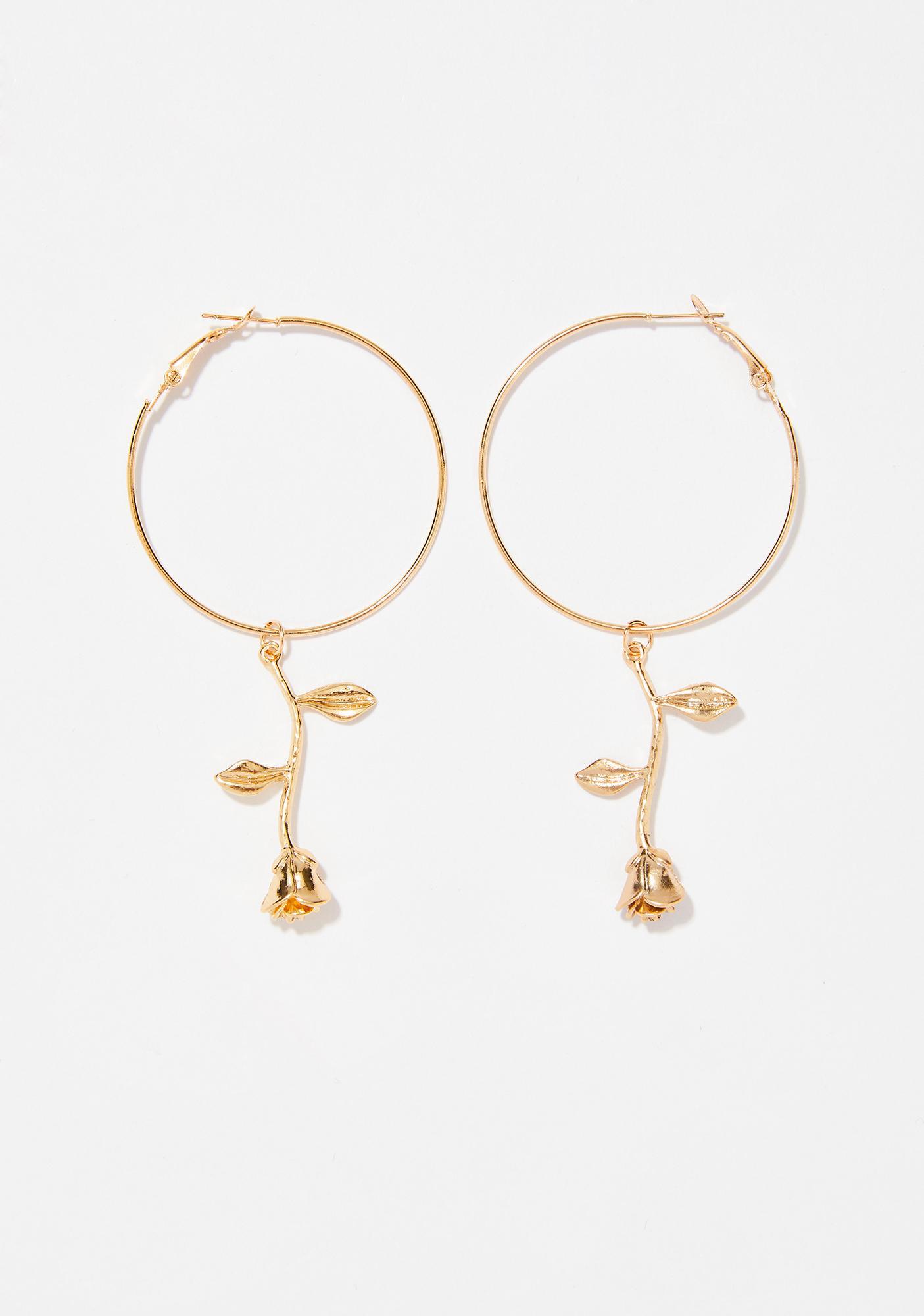 Enchanted Rose Hoop Earrings