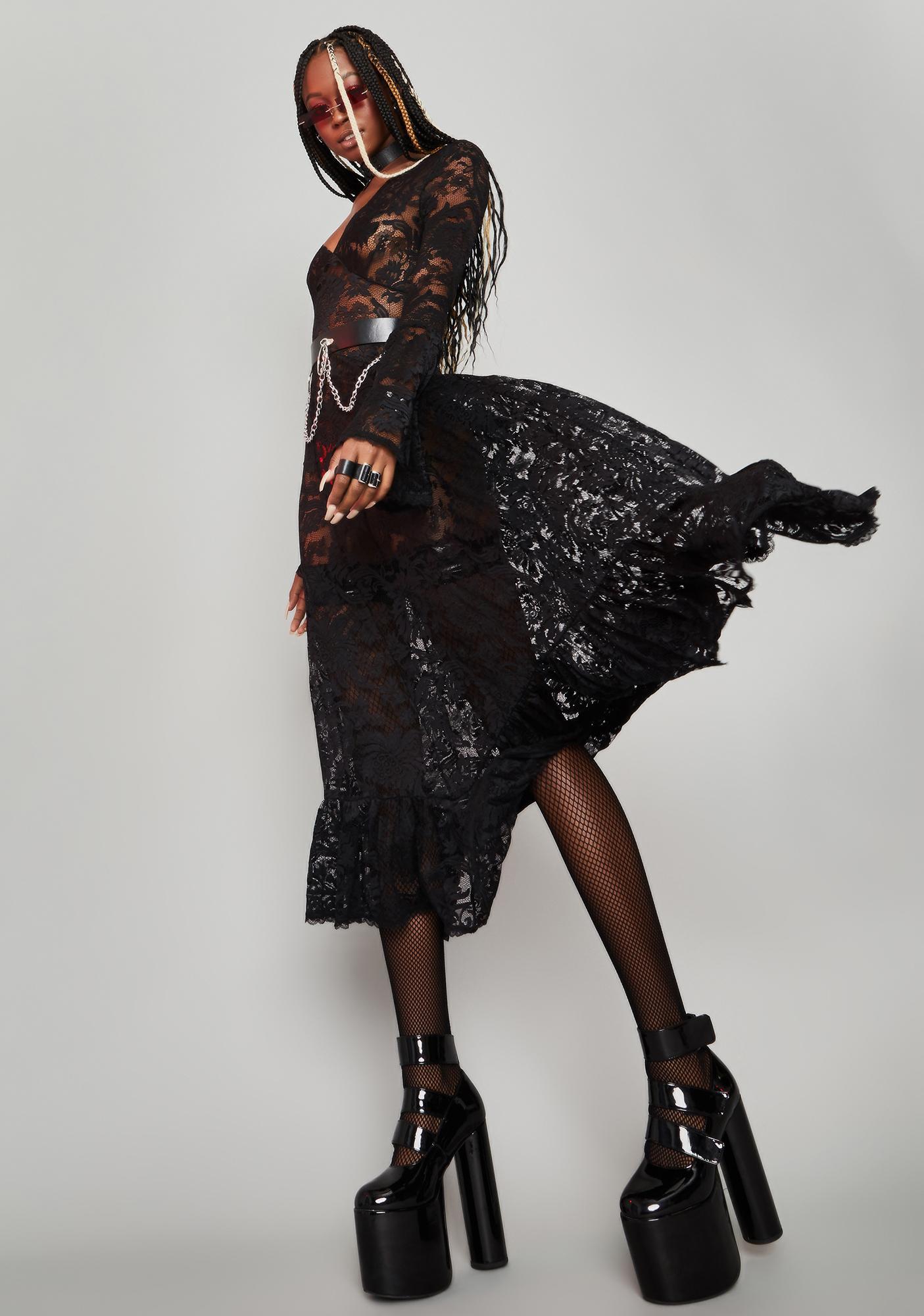HOROSCOPEZ Lyrical Moonlight Lace Maxi Dress