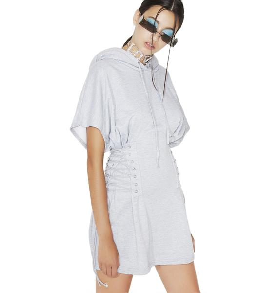 No Fear Lace-Up Sweatshirt Dress