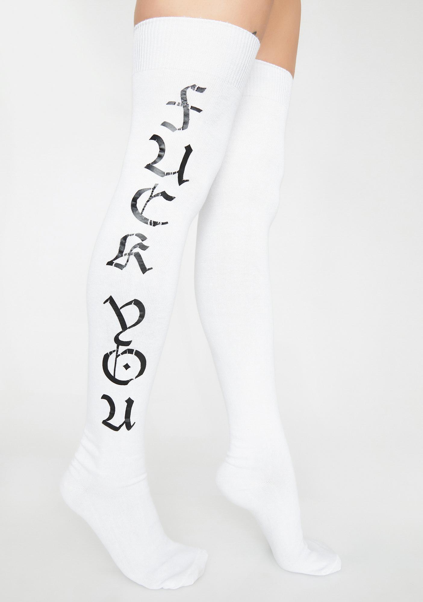 170b44a9a Fuck You Graphic Thigh High Socks