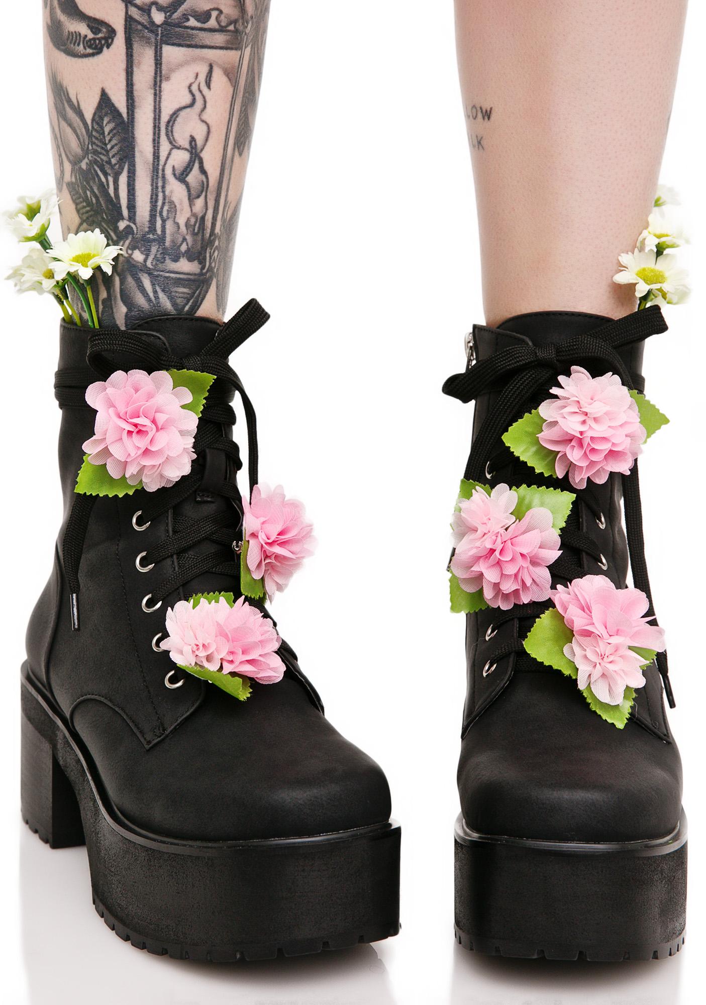 Black Pink Flower Grunge Combat Boots