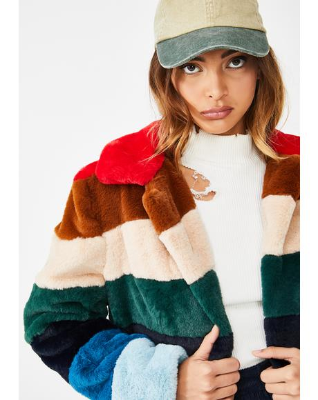 Rainbow Pop Faux Fur Jacket