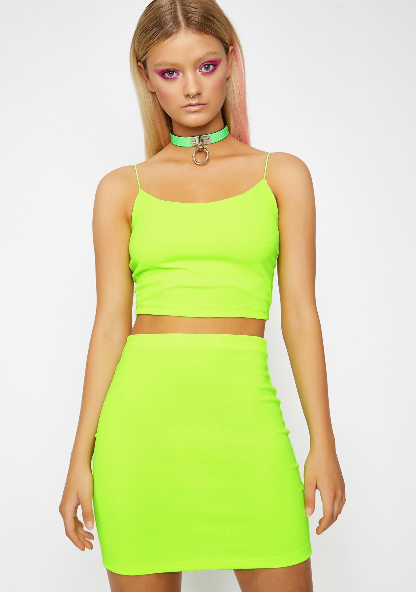 8160f612401b Crop Set Top Skirt Green | Dolls Kill