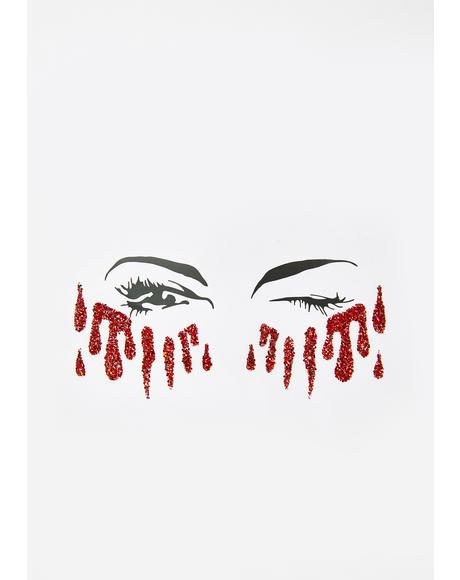 Red Glitter Tears Stickers
