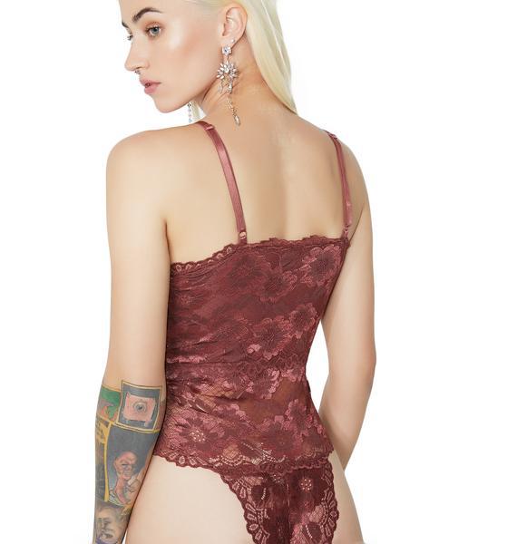 Wine Cuddle Party Lace-Up Bodysuit