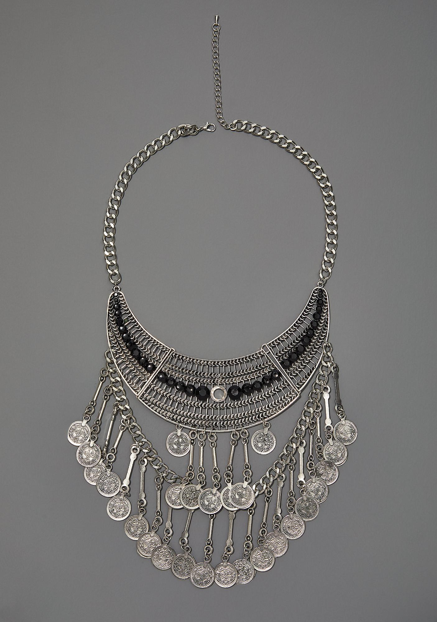 statement crystal plated atxi rhinestones diamante boho art bib maxi necklace super silver deco