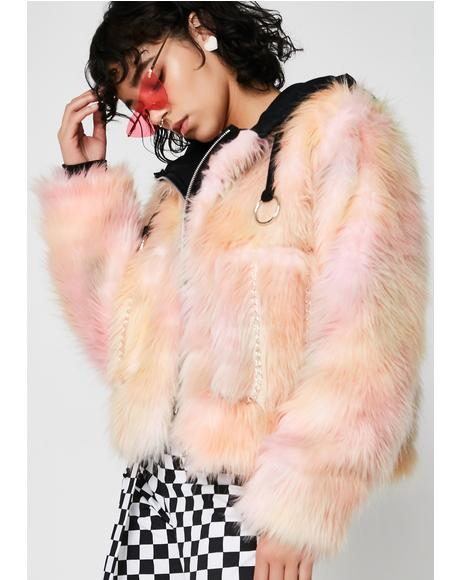 Trashed Unicorn Fur Coat With Hood