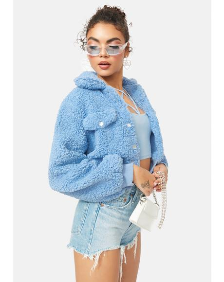 Candid Pose Faux Fur Teddy Jacket