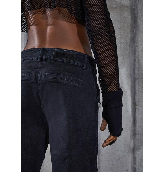 DARKER WAVS Snare Washed Black Denim Buckle Cargo Pants
