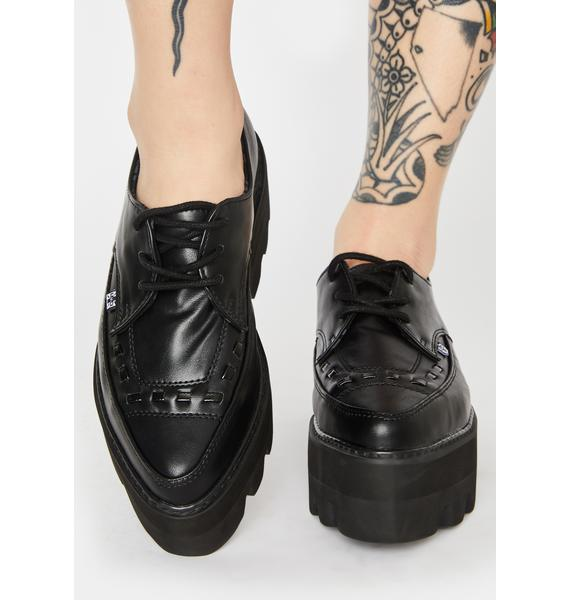 T.U.K. Lace Up Pointed Platform Creepers