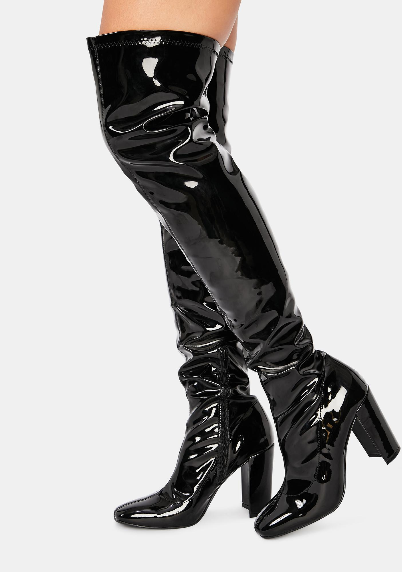 Night Looks Could Kill Patent Thigh High Boots
