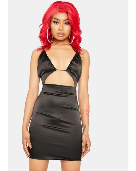 Noir Talk About Love Satin Bodycon Mini Dress