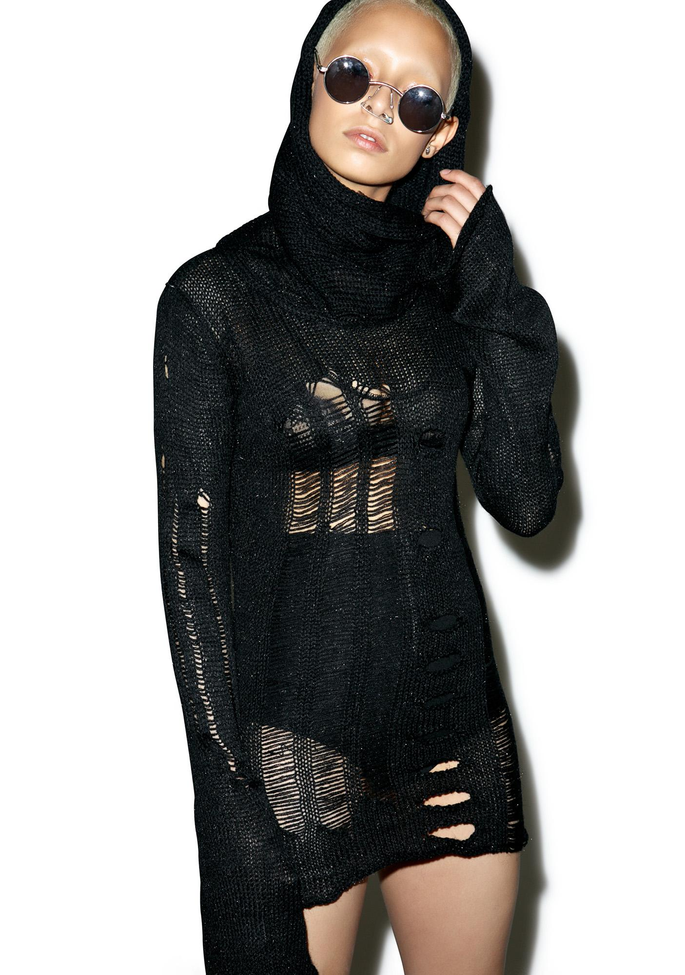 Punk Rave Sweeney Distressed Tunic Sweater
