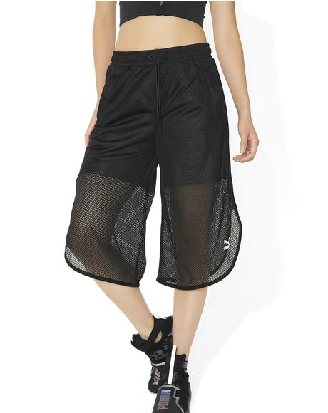 Black Xtreme Mesh Frill Shorts
