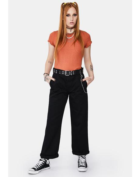 Black Work Crop Roll Hem Belted Pants