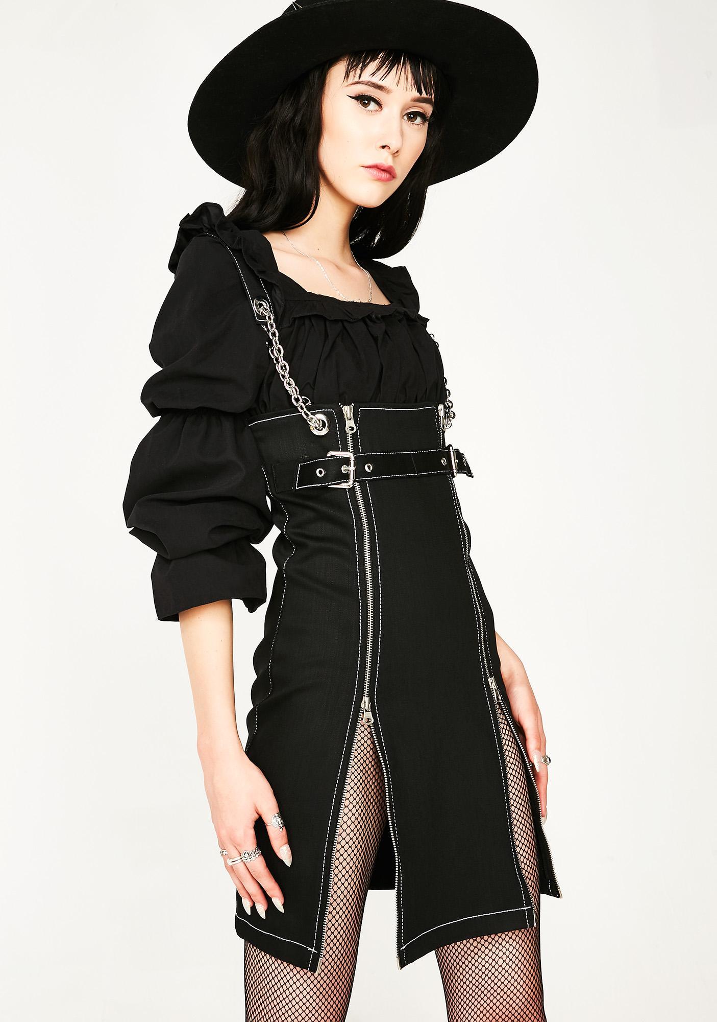 be431f6f8a Stuck on stupid zip front black denim dress dolls kill jpg 1405x2000 Denim  zip front dress