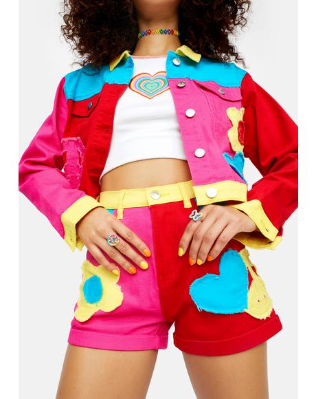 Free Luv Nation Colorblock Applique Twill Shorts