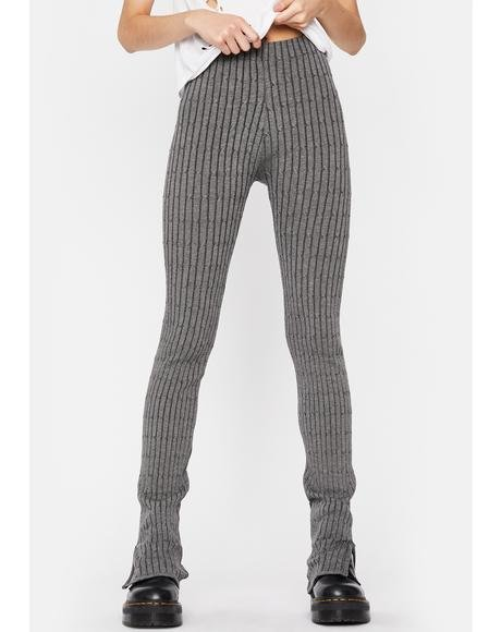 Slate Dark Trouble Ribbed Leggings
