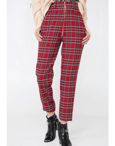 Plaid Zip Up Pants
