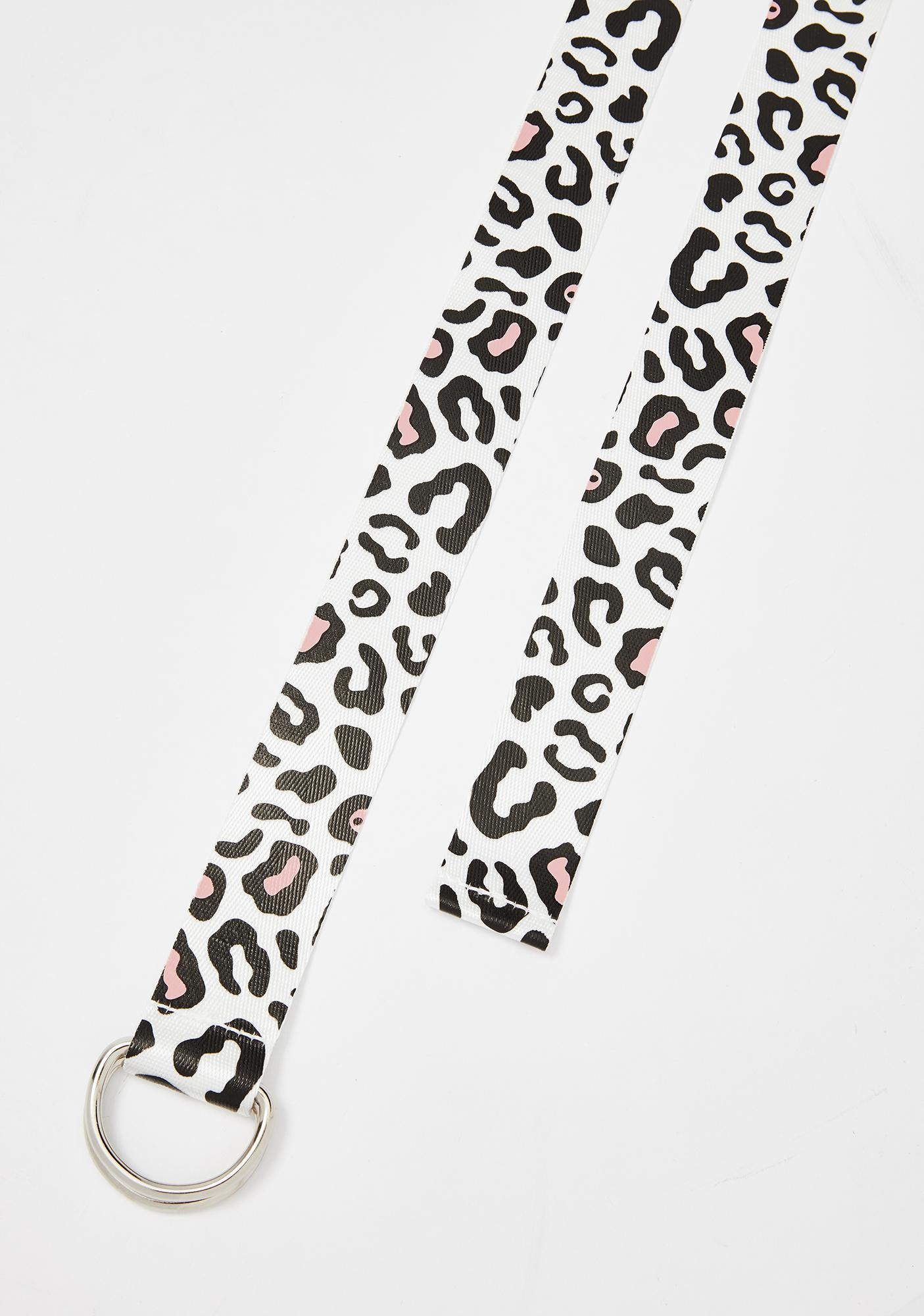 Petals and Peacocks Leopard Web Belt