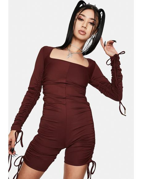 Brown Drawstring Ruched Cyclesuit
