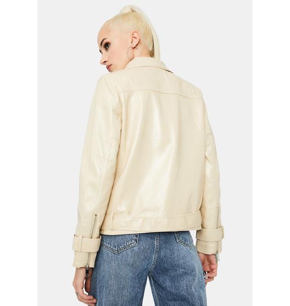Glamorous Stone Vegan Leather Belted Moto Jacket