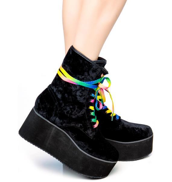 Y.R.U. Bloq Velvet Platform Boots