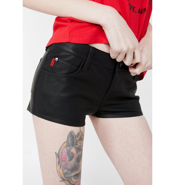 Tripp NYC Faux Leather Booty Shorts