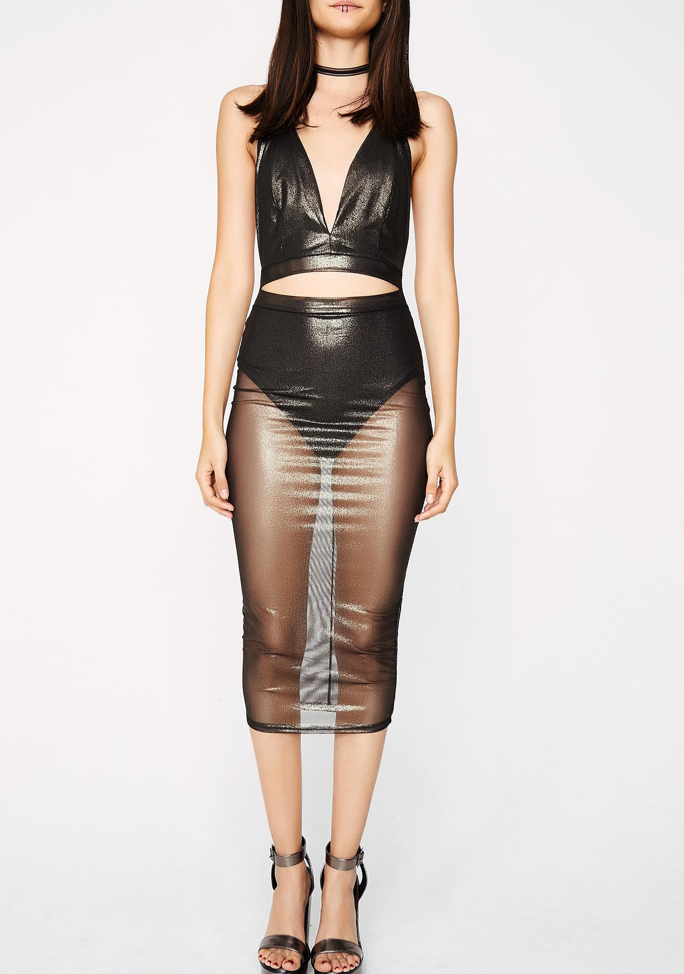 DM Me Mesh Bodycon Dress