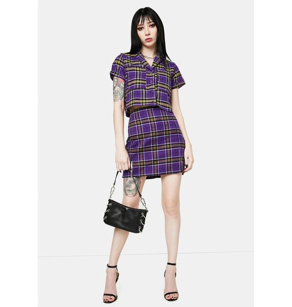 Daisy Street Kaya Purple Plaid Mini Skirt
