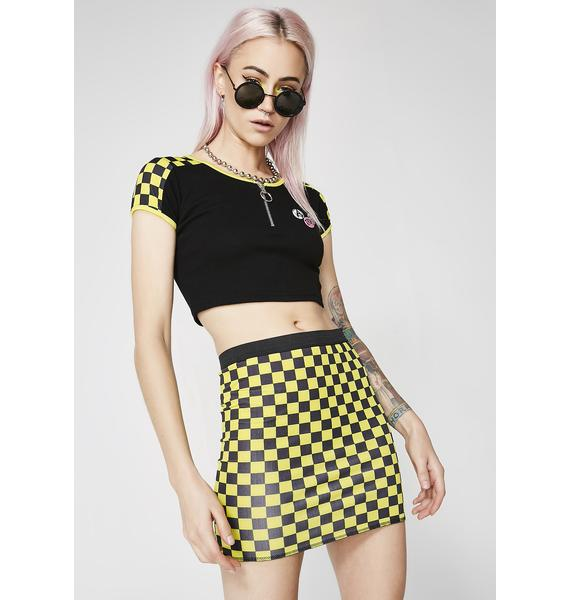 Current Mood Speed It Up Checkered Crop Top