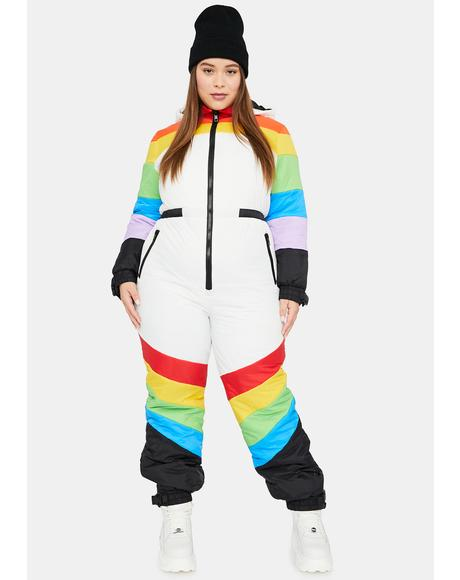 Totally Sweet Retreat Rainbow Puffer Snowsuit