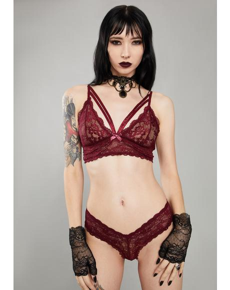 Wine Kiss Of Midnight Lace Bra