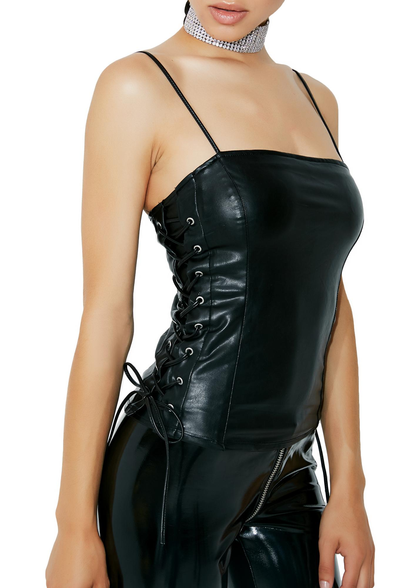 Leather N' Lace-Up Camisole