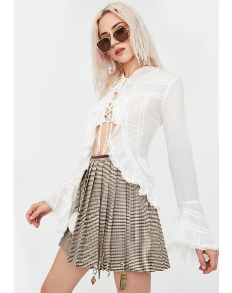Flare Sleeve Belted Lace Shirt