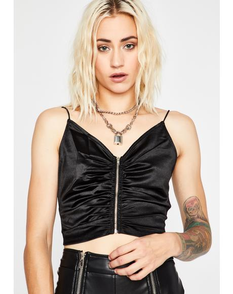Devoted Desires Zip Crop Top