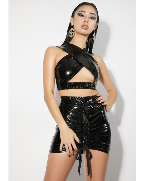 Noir Hit Record Vinyl Cut Out Skirt Set