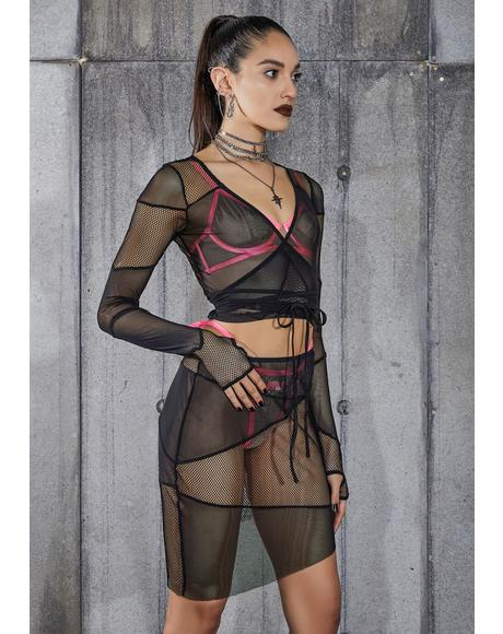 Snare Fishnet And Mesh Patchwork Wrap Top